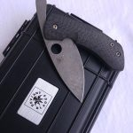Filip de Leeuw Custom Knives (Deviant Blades) Chinese Friction Folder Lightning Strike Carbon Fibre zu verkaufen for sale