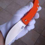 Filip de Leeuw Custom Knives (Deviant Blades) Friction Folder G10 orange zu verkaufen for sale