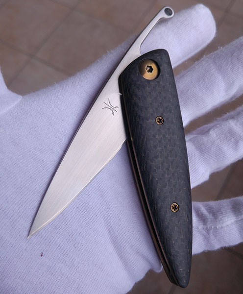 Lee Lerman Custom Knives Friction Folder for sale zu verkaufen Lightning Strike Carbon Fibre