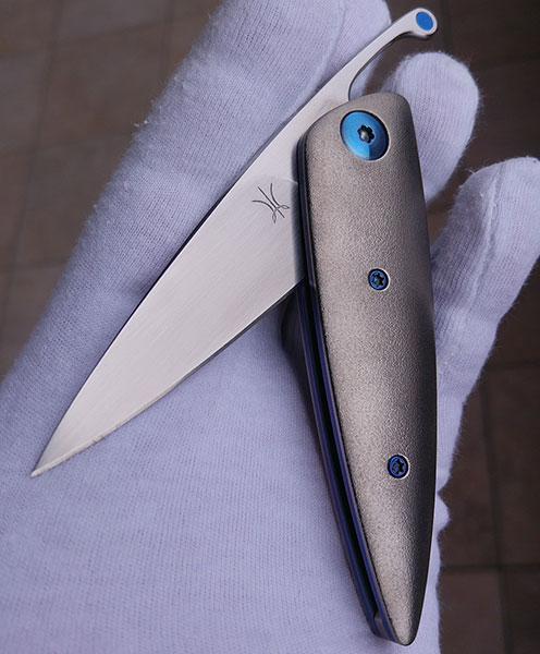 Lee Lerman Custom Knives Friction Folder for sale zu verkaufen Titanium orange peel blue anodised