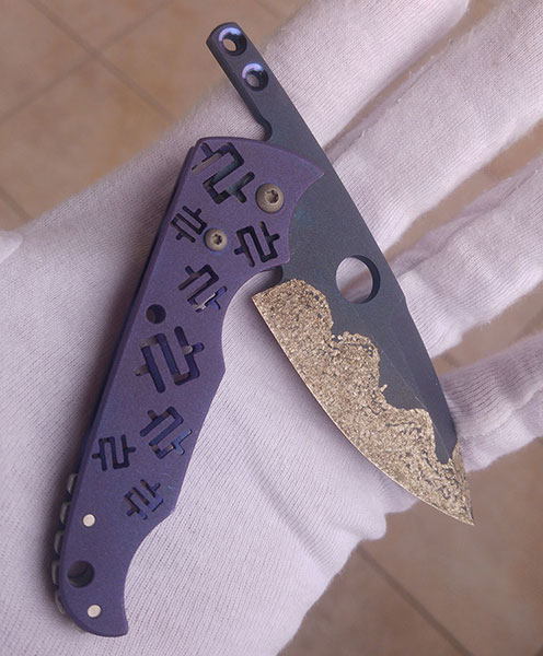Mike Snody Custom Knives Friction Folder #2 Titan mit Carbidbeschichtung: for sale / zu verkaufen